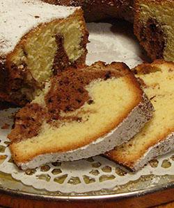 Sliced Marble Bundt Cake