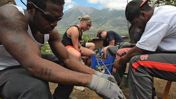 Student Athletes Working On Rebar